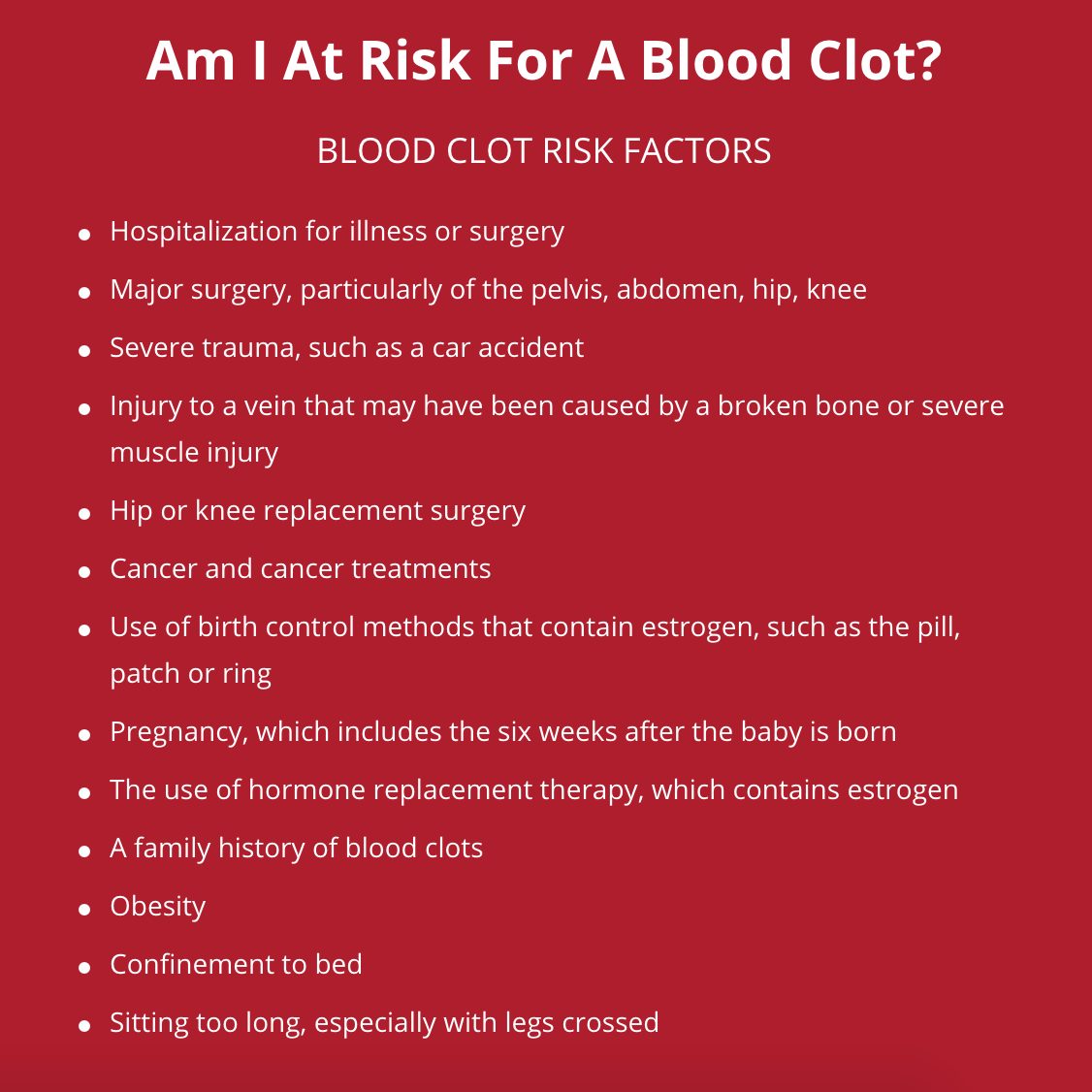 What are the symptoms of a blood clot in the hip?