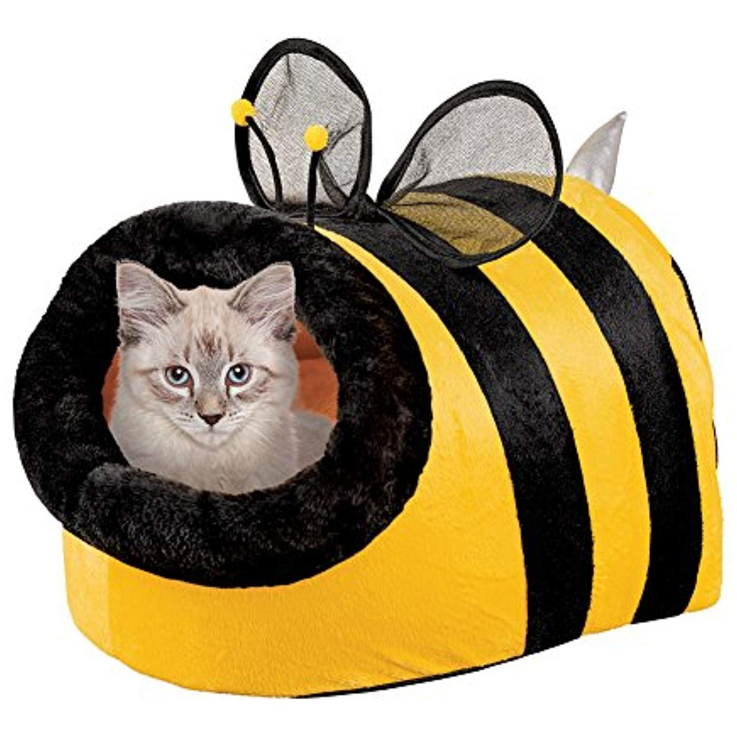 Collections Etc Cute Bumble Bee Enclosed Pet Bed, Cat, Dog