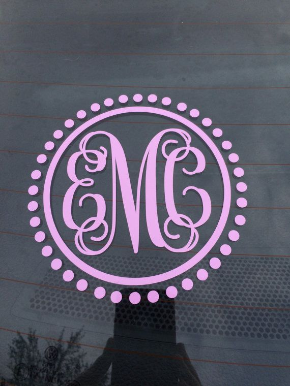 Car Monogram Decal Car Sticker Vine Monogram Car Decal