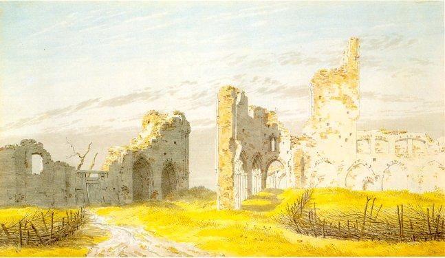 'The Ruins of Eldena Abbey', Oil by Caspar David Friedrich (1774-1840, Germany)