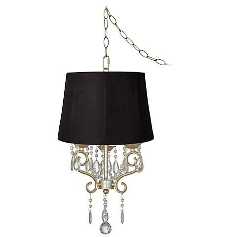 Conti 16 wide mini swag chandelier with faux suede shade swag conti 16 wide mini swag chandelier with faux suede shade aloadofball Images
