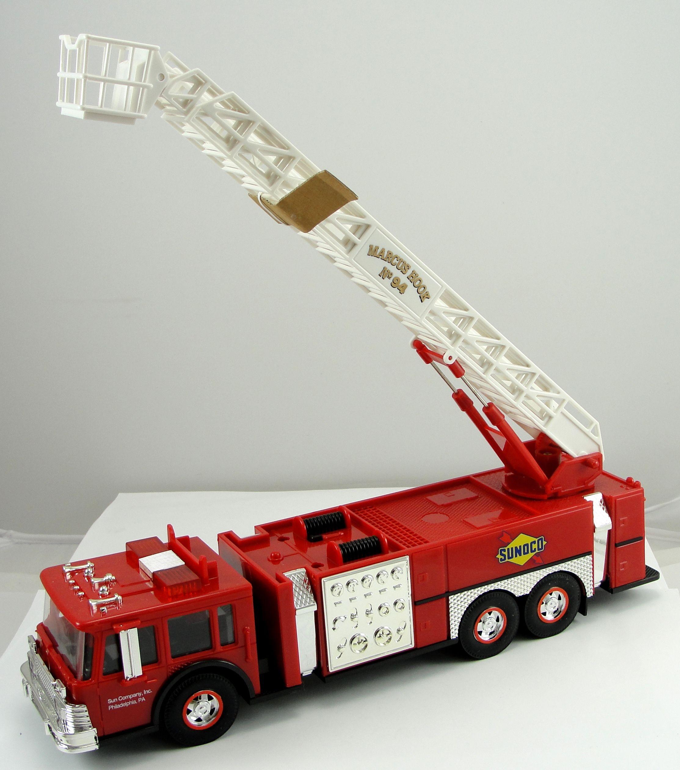 Set 3 toy truck sunoco fire truck mobil tow truck bp race car carrier car