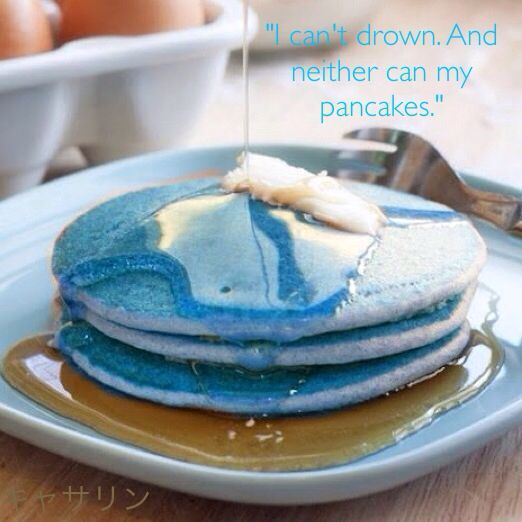 Percy was eating a huge stack of blue pancakes (what was his