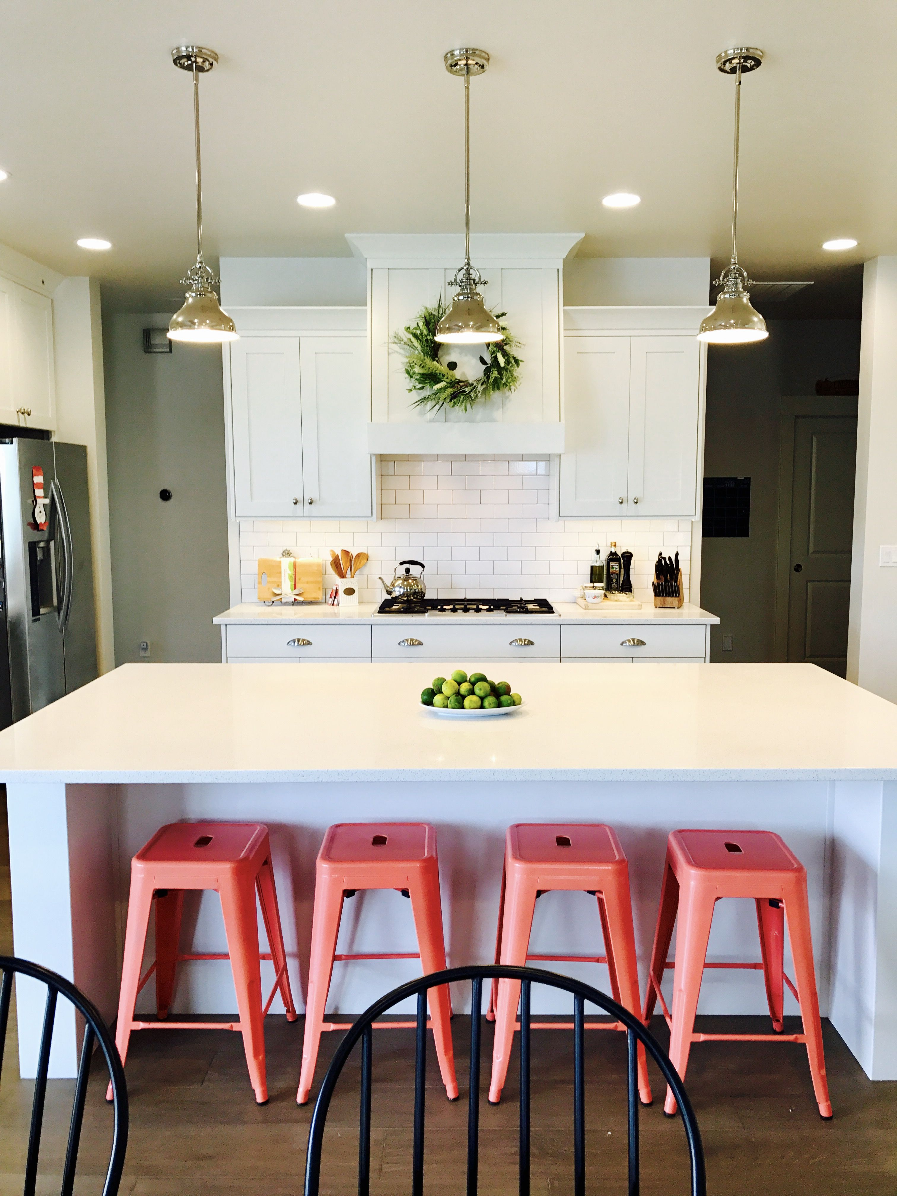 Farmhouse White Kitchen Coral Barstools Coral Kitchen Kitchen Decor Solid Wood Kitchen Cabinets