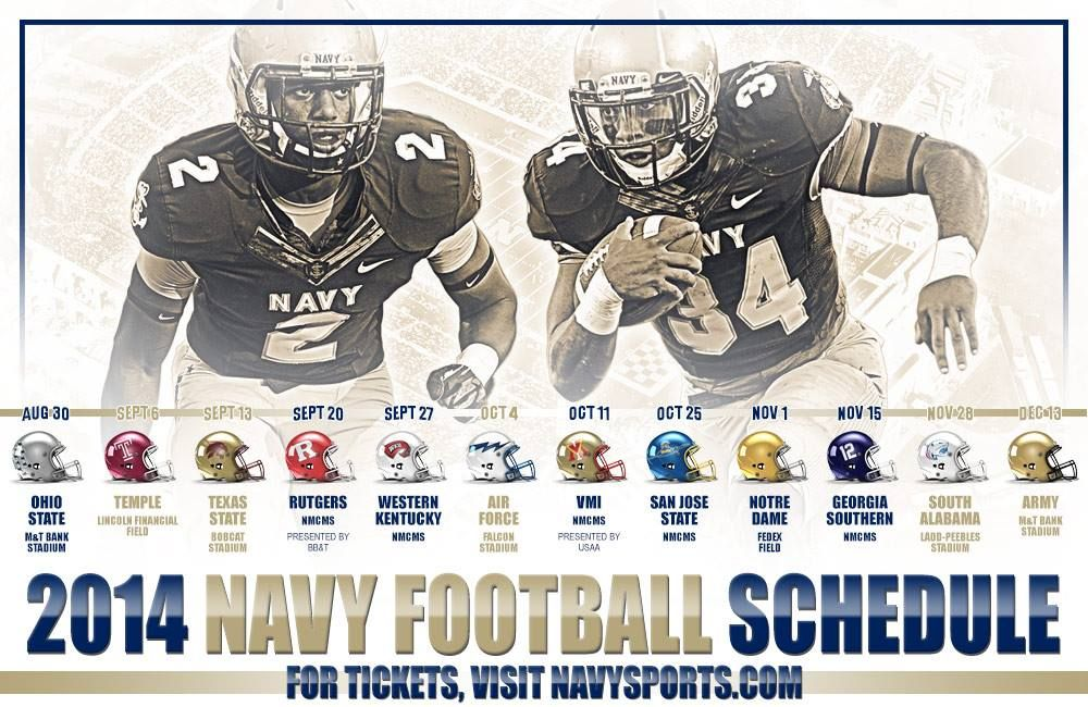 The 2014 Navy Football Schedule! Who is READY!? GO NAVY