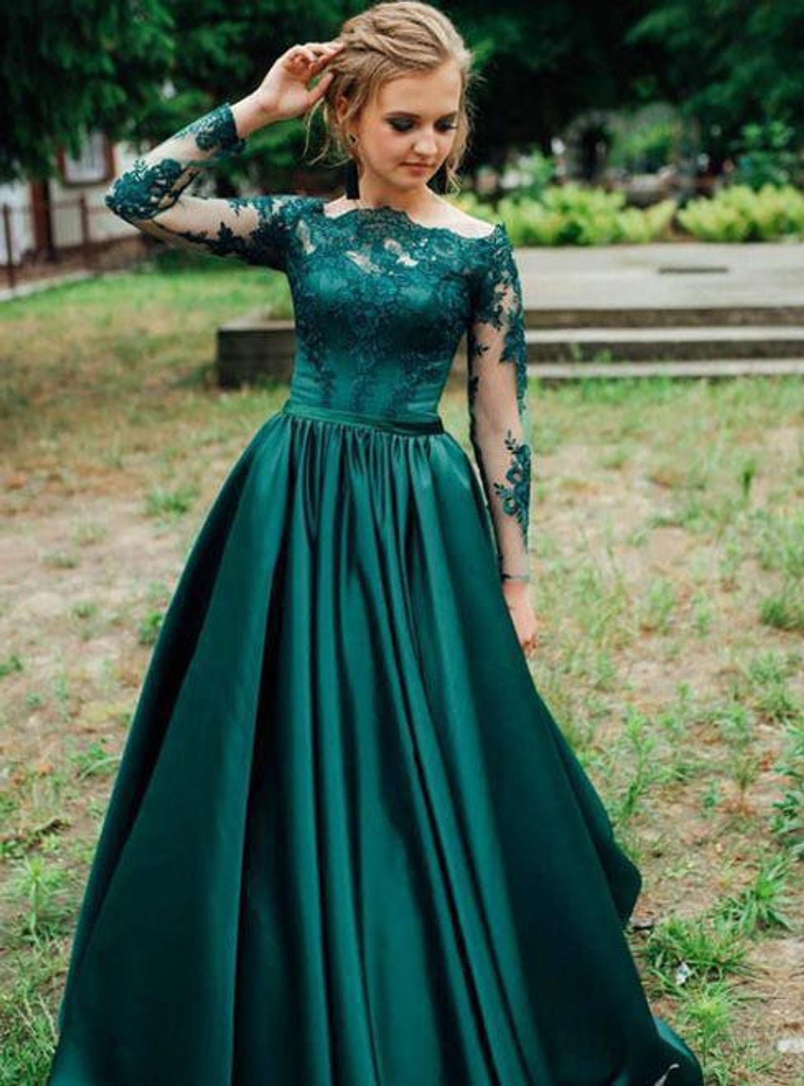 Green Ball Gown Prom Dress Green Wedding Dress Wedding Etsy In 2021 Green Prom Dress Long Prom Dresses Long With Sleeves Long Sleeve Prom Dress Lace [ 2144 x 1588 Pixel ]