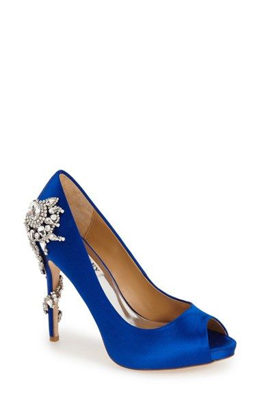 GORGEOUS  Badgley Mischka 'Royal' Crystal Embellished Peeptoe Pump (Women) available at #Nordstrom