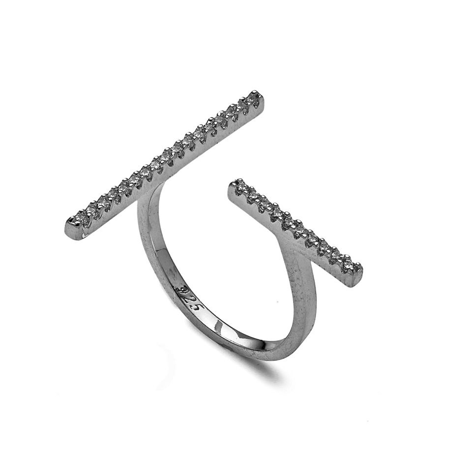 Fallon Pave T-bar Ring Gold/clear 3XY5c