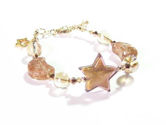 Murano Glass Star Copper Moon Gold Bracelet Venetian by JKCJewels