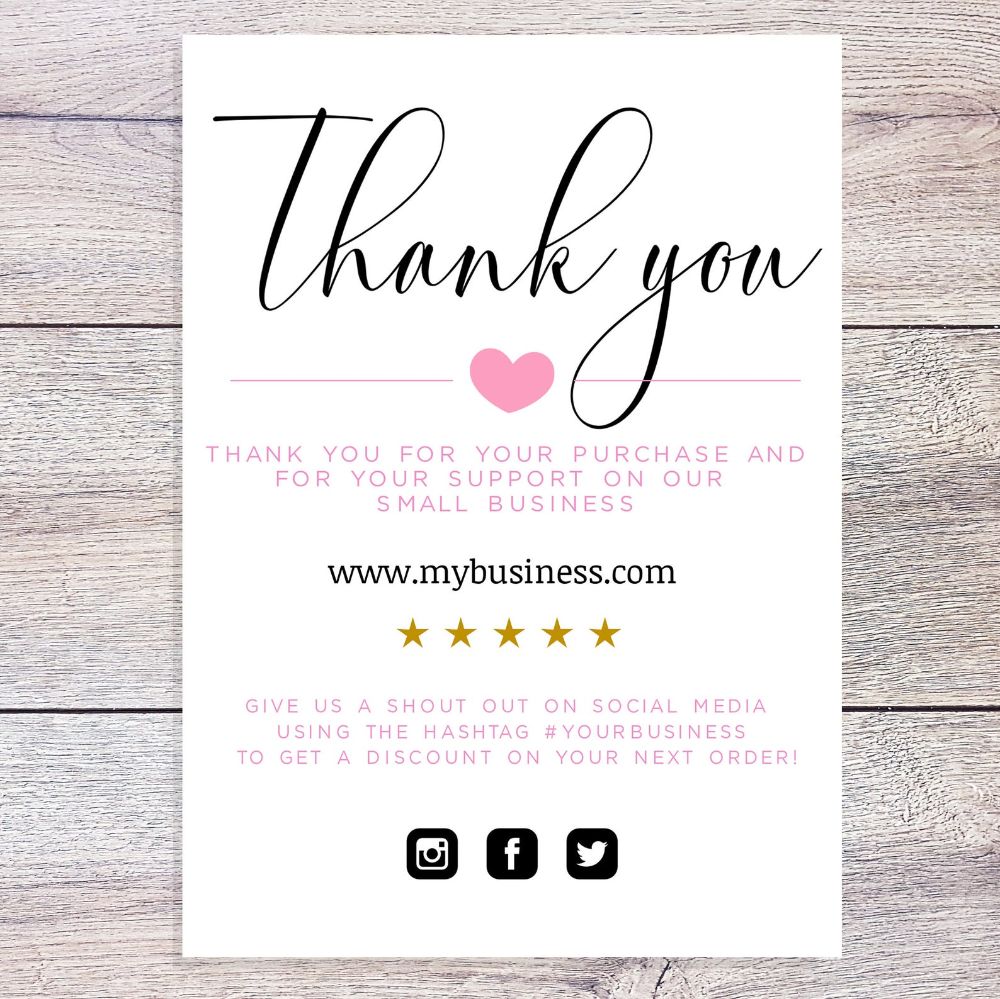Beauty Business Thank You Card Template Thank You Template Etsy Business Thank You Cards Thank You Card Template Business Thank You