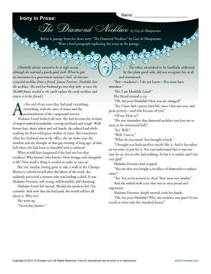 Irony In Prose The Diamond Necklace Worksheets Students And