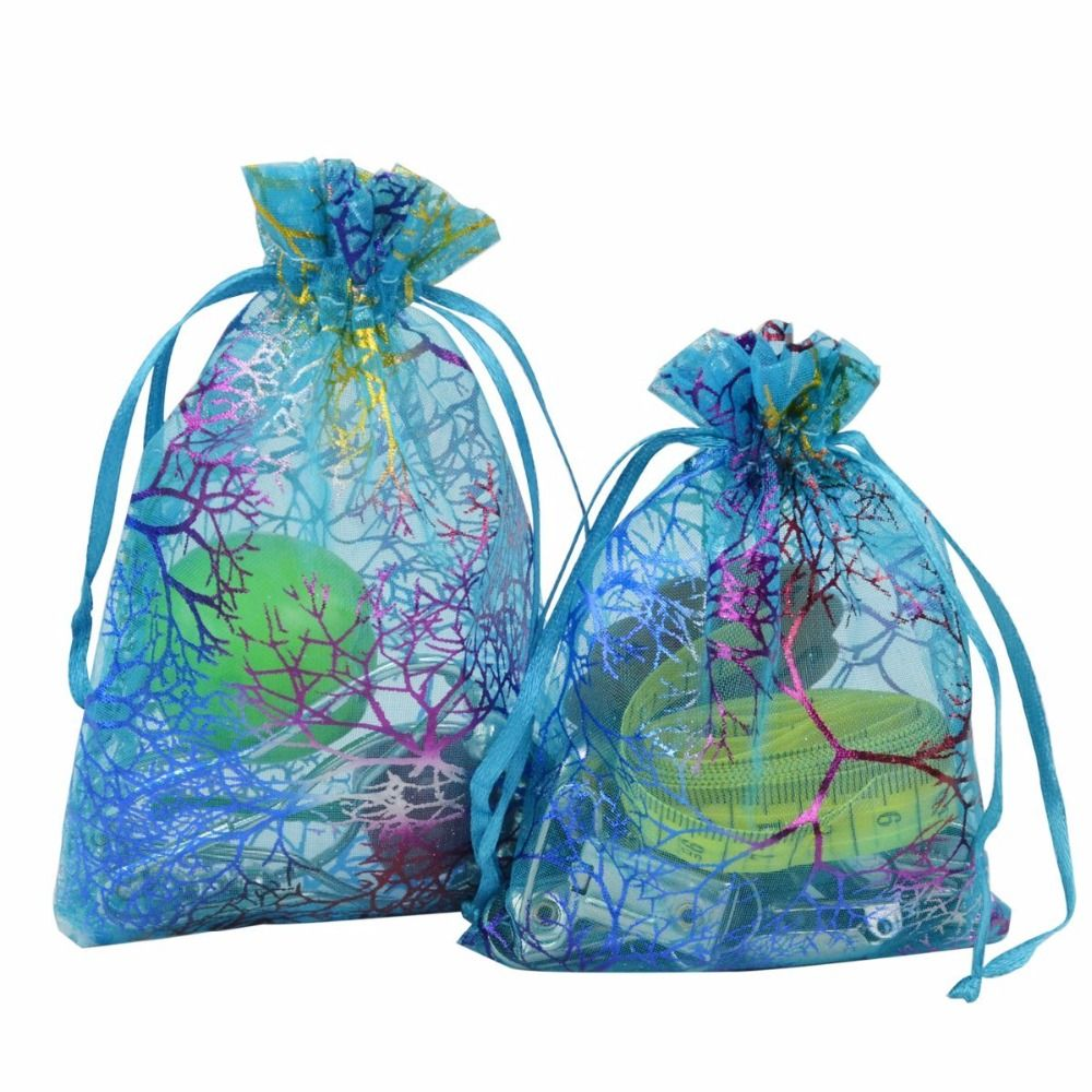 100 Pcs Blue Coral Pattern Christmas Organza Gift Bags Drawstring Jewelry Pouches Wedding Party Favor Gift Wrapping Set