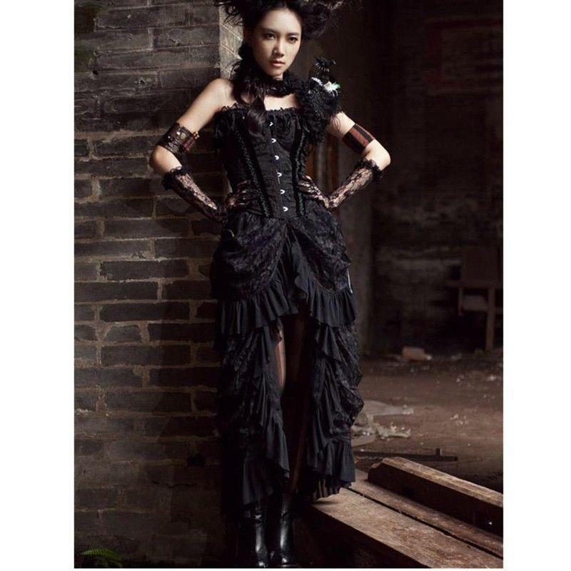 Womens Victorian Reteo Punk Rock Gothic Prom Dress Lace Steampunk Vintage Dress
