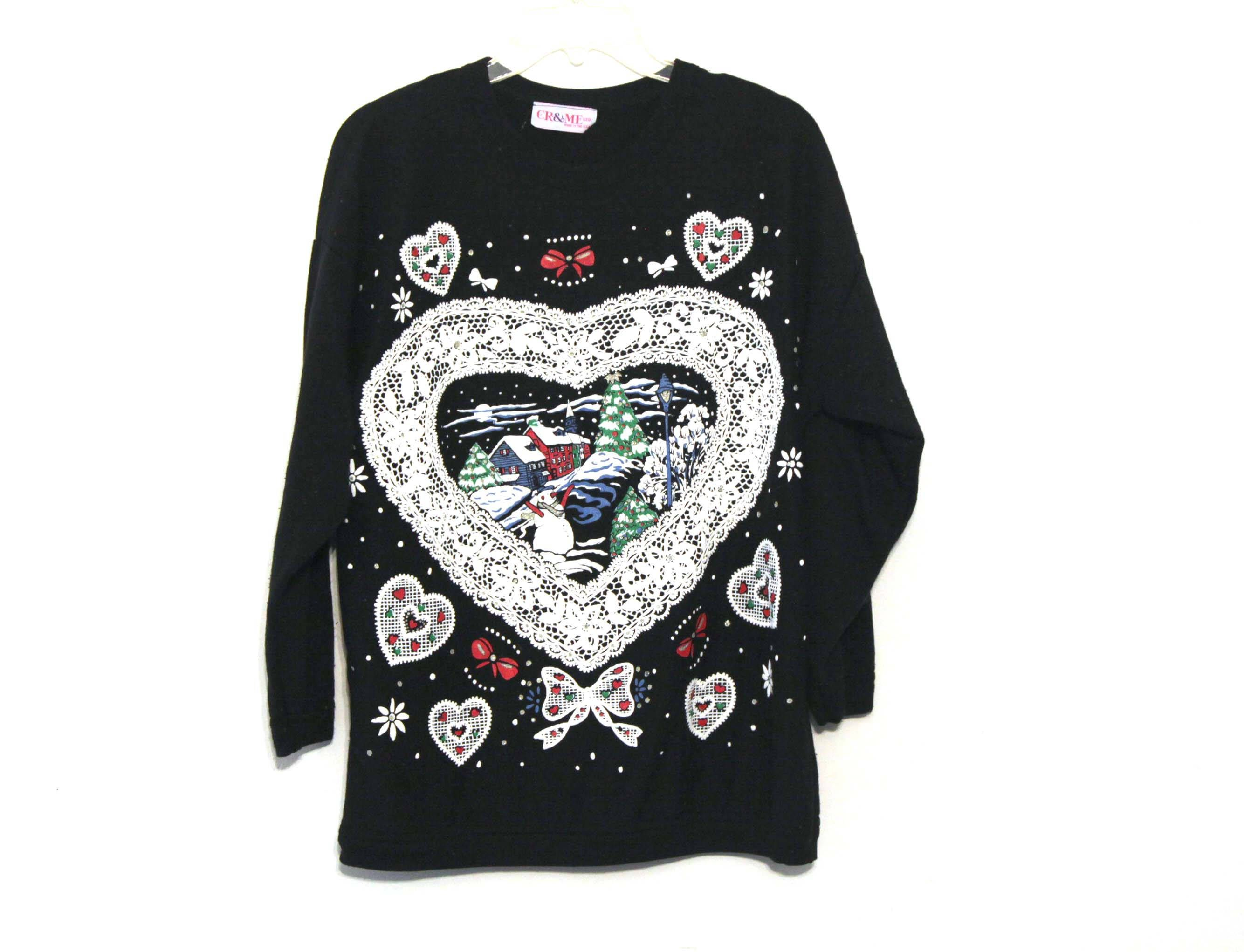 Vintage 80s ugly Christmas sweater sweatshirt lace glittery town ...