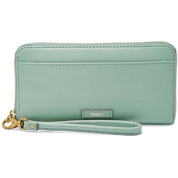 Fossil Julia Zip Clutch Swl1556116 Color: Seaglass Wallet ($48) ❤ liked on  Polyvore
