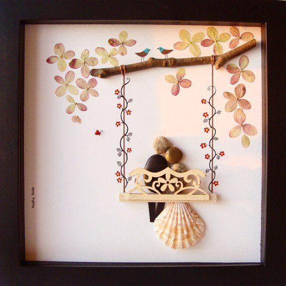 Unique Wedding Gift Customized Wedding Gift Pebble Art