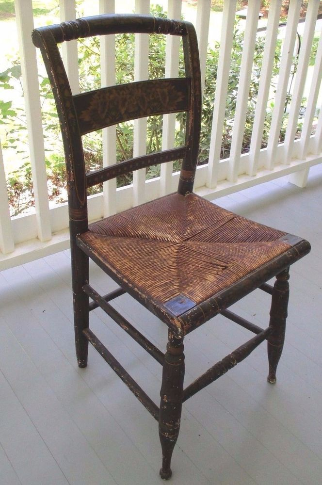 Antique Handpainted Hitchcock Chair With Rush Seat 1800u0027s #Sheraton