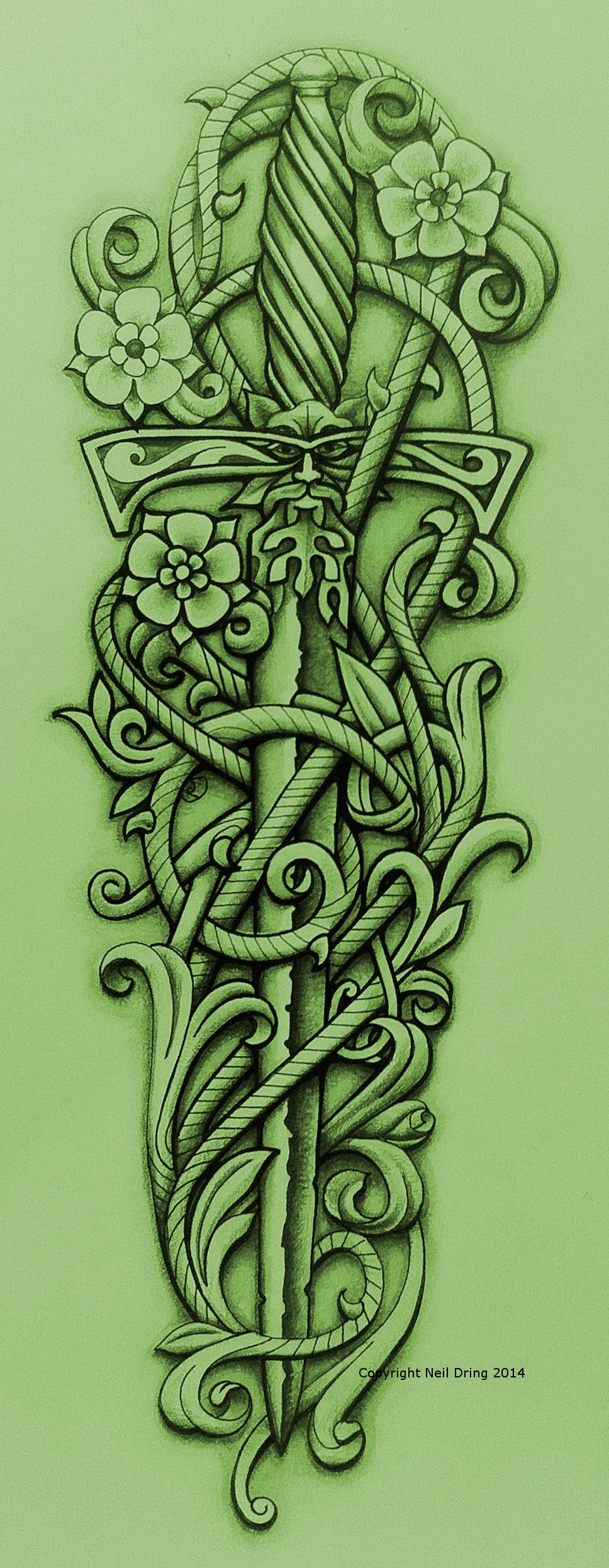 green knight 39 s sword and vine by tattoo on deviantart don cecilio. Black Bedroom Furniture Sets. Home Design Ideas