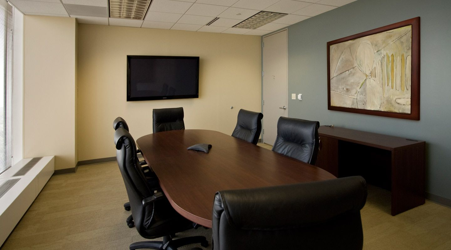 Conference room basics with screen speakerphone for Meeting room interior design ideas