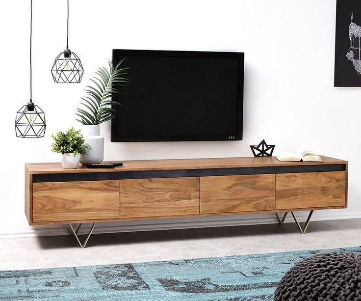 Delife Fernsehtisch Stonegrace Akazie Natur 200 Cm Pinol Living Room Tv Living Room Tv Unit Designs Living Room Tv Wall