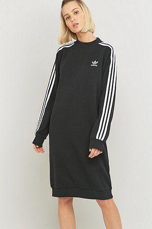fb5f033c88c6 adidas Originals - Robe noire mi-longue à 3 bandes