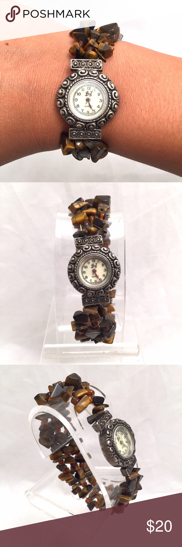 Brown Stone Bracelet Watch Unbranded beauty! Stretchy bracelet features watch adorned with brown tone stones throughout. Unique! Unbranded Accessories Watches