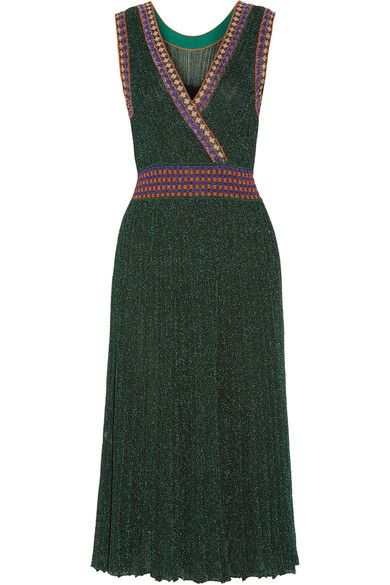 de1321fe1613 Missoni - Convertible Wrap-effect Pleated Metallic Crochet-knit Midi Dress  - Emerald