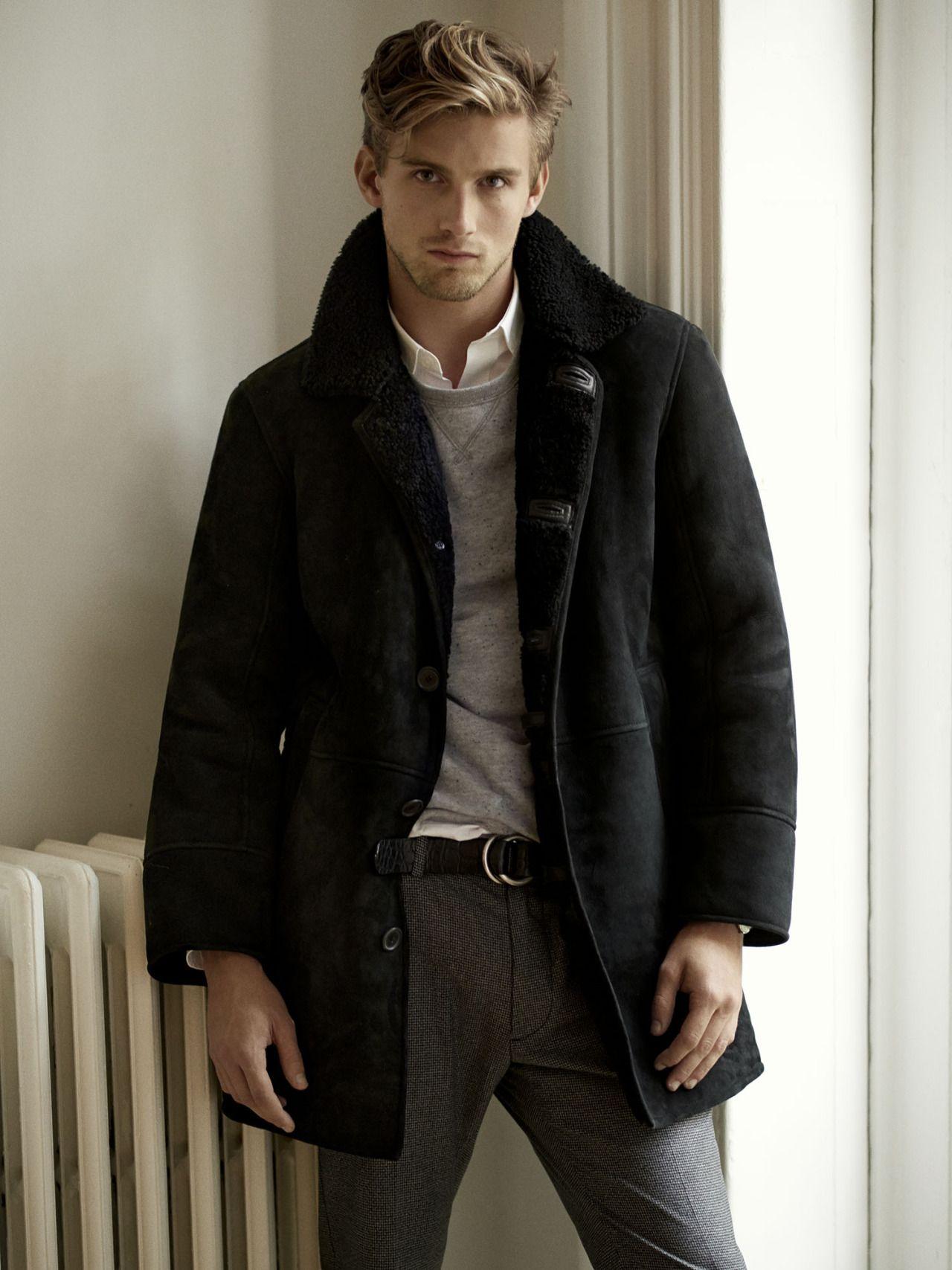 November - Look 2 SHEARLING COAT DONEGAL SWEATSHIRT DAVIS ...