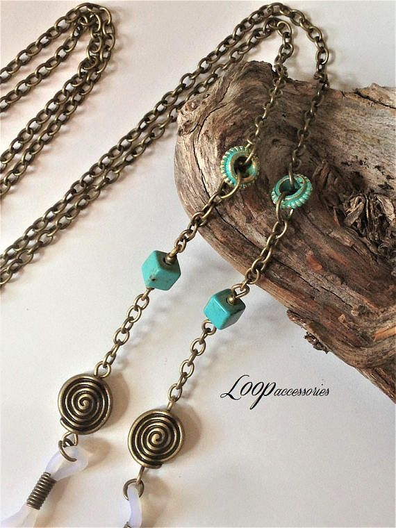 Rustic Bronze Eyeglasses Chain  Turquoise Spectacles Necklace