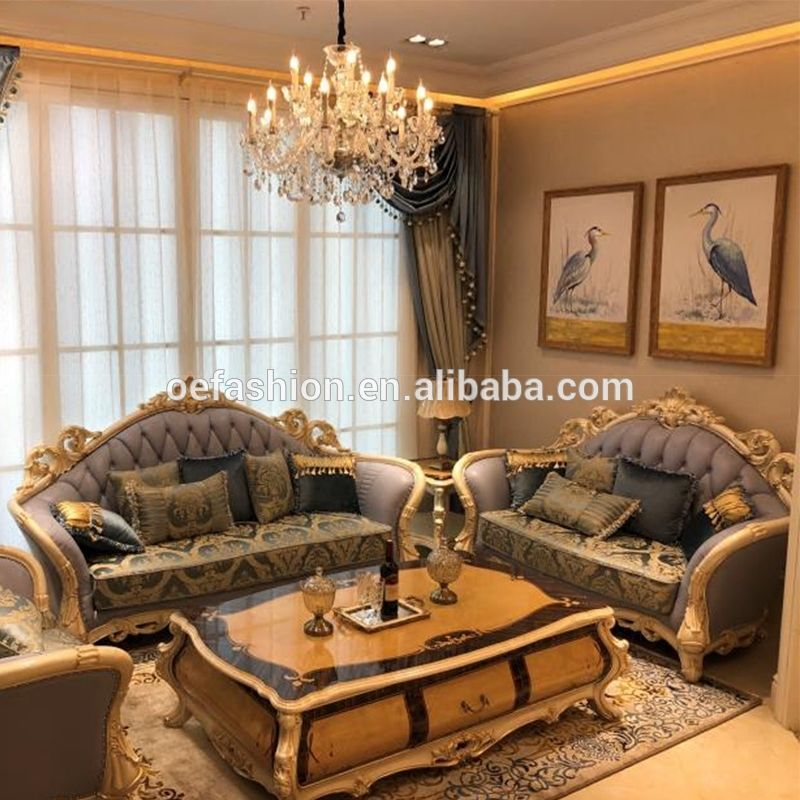 Source French Style Living Room Furniture Fabric Sofa Set European New Classic Wood Carving Flamboy Living Room Sofa Design Furniture Sofa Set Luxury Furniture