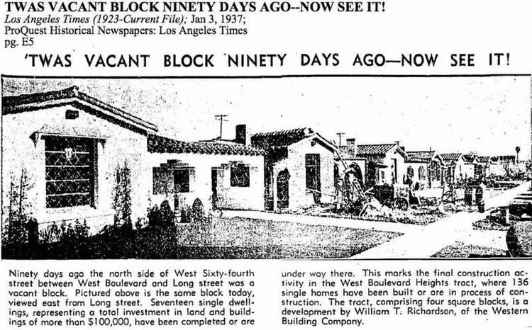1937 Los Angeles Times Article West Boulevard Heights Tract Hyde Park Los Angeles Ca Western Building Los Angeles Adventure Travel Historical Newspaper