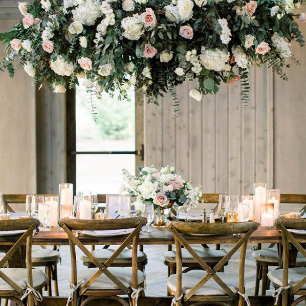 Hanging Floral Installation Trend For Wedding Reception
