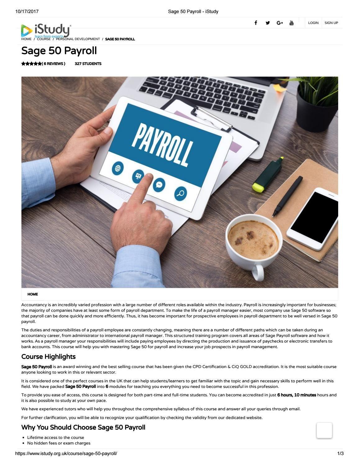 Sage 50 Payroll Istudy Personal Development Training Self