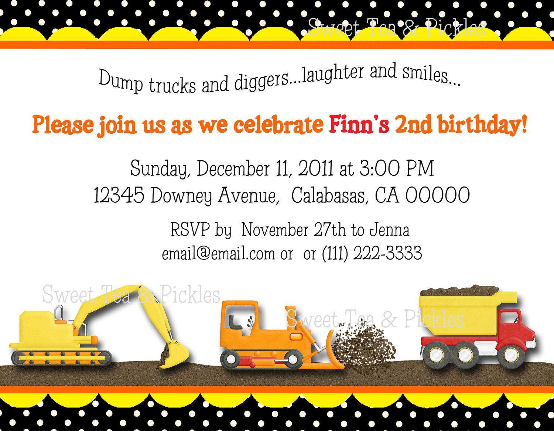 Construction Zone Birthday Party Invitations - Set of 12. $18.00 ...