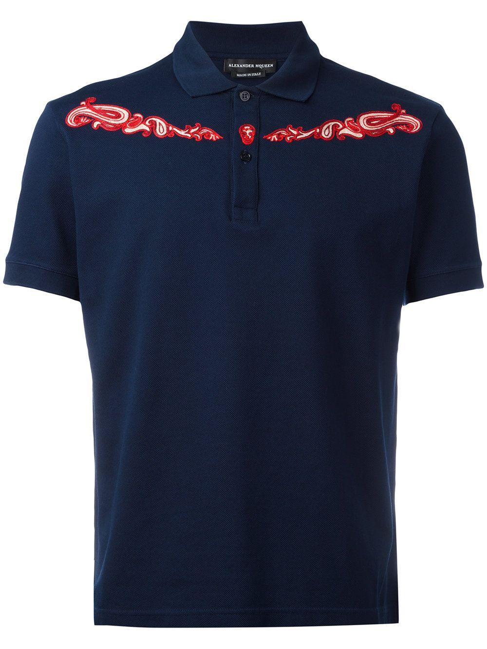 Alexander McQueen paisley panel polo shirt
