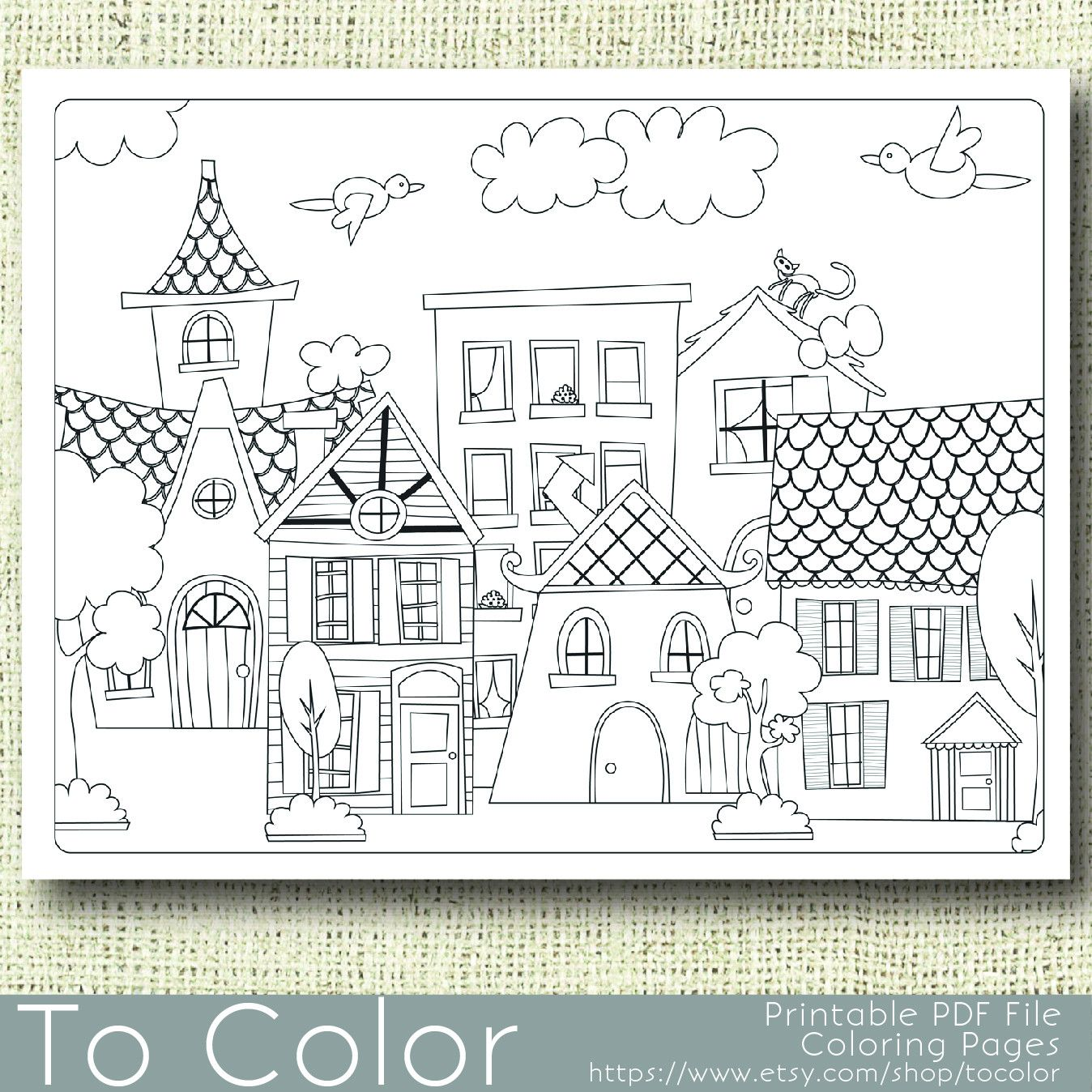 This printable coloring page features a scene of village houses and will be fun to color in a variety of ways