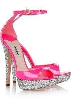 Miu Miu Glitter-finish patent-leather sandals