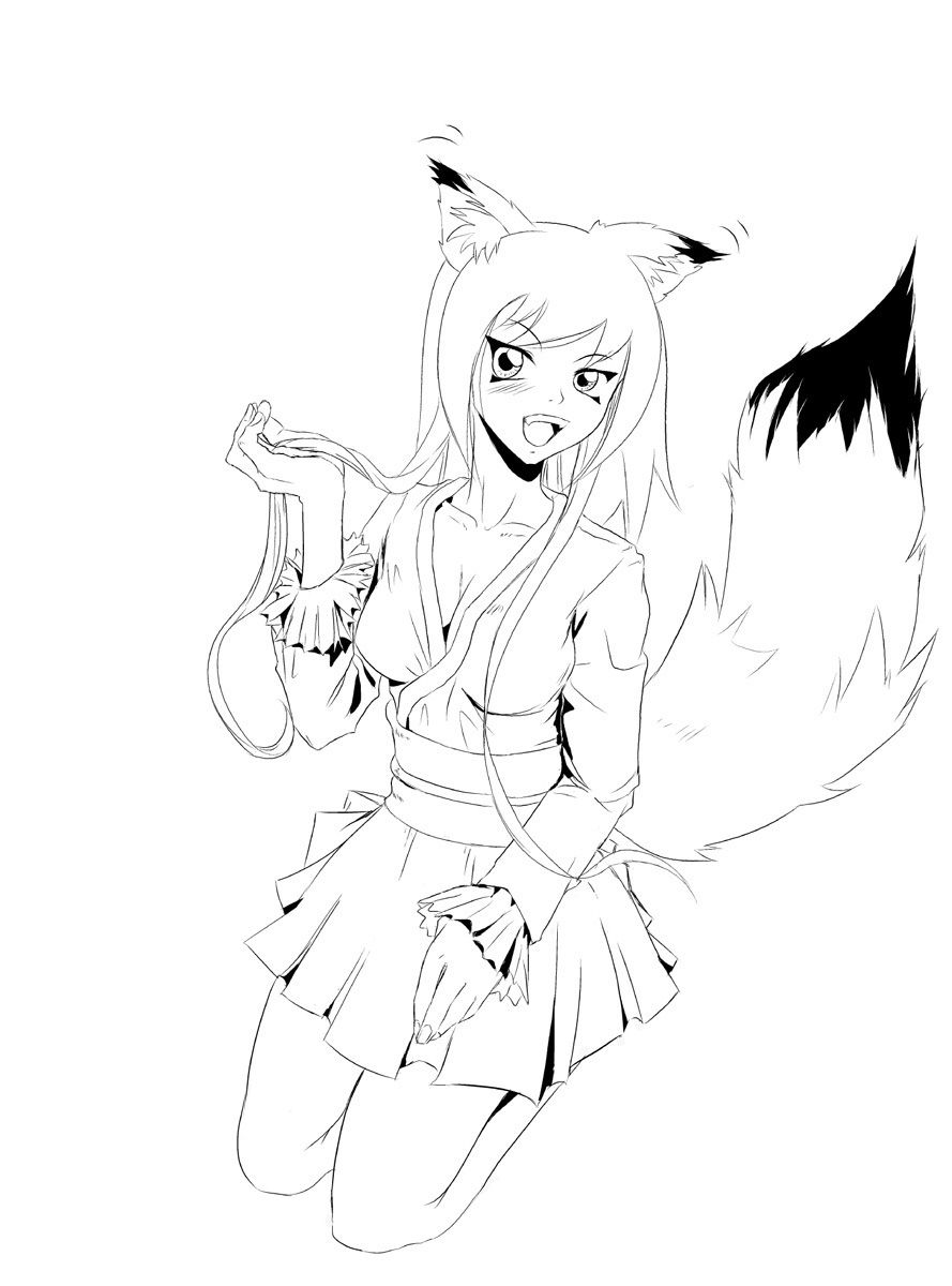Anime Fox Girl Coloring Pages Anime Wolf Girl Fox Coloring Page Cute Wolf Drawings
