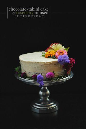 Chocolate Tahini Cake + Rosemary infused buttercream