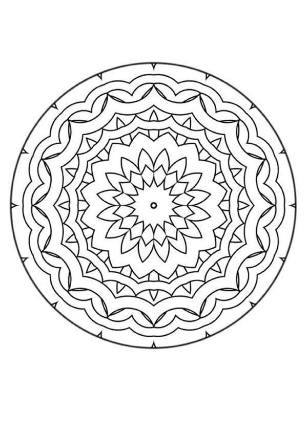 Mandala simple avec un coeur de fleur. À imprimer gratuitement ou ...