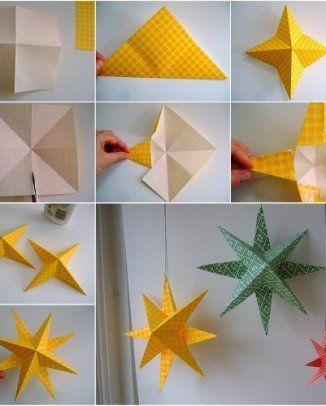 Decorar Estrellas De Navidad En Cartulina.Estrellas De Papel En Origami Adornos Navidenos De Papel