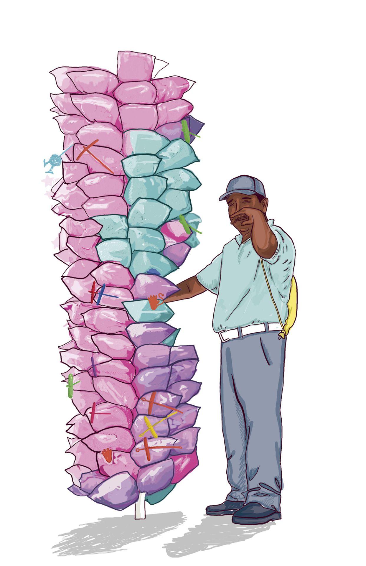 Algodón de azúcar y su encargado. Vistas dulces de Medellín. Dibujo ...