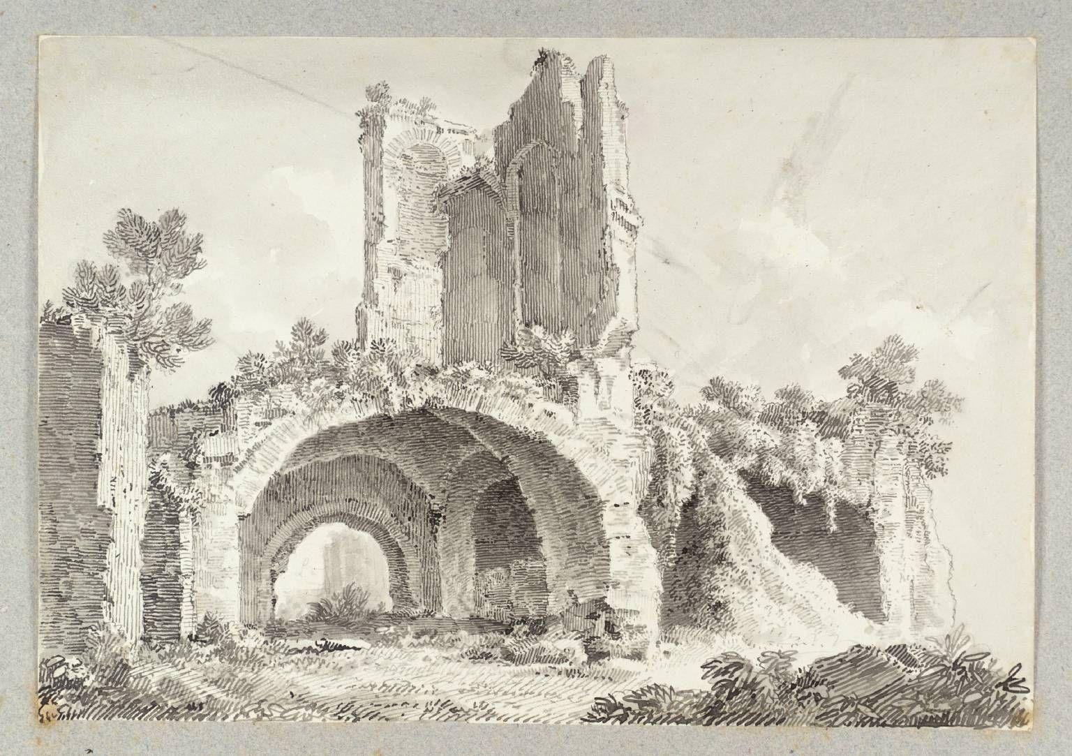 Ink Drawings Of Buildings To Ferdinand Becker Rome