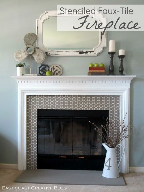 beehive stencil used for this faux tile fireplace surround by east coast creative
