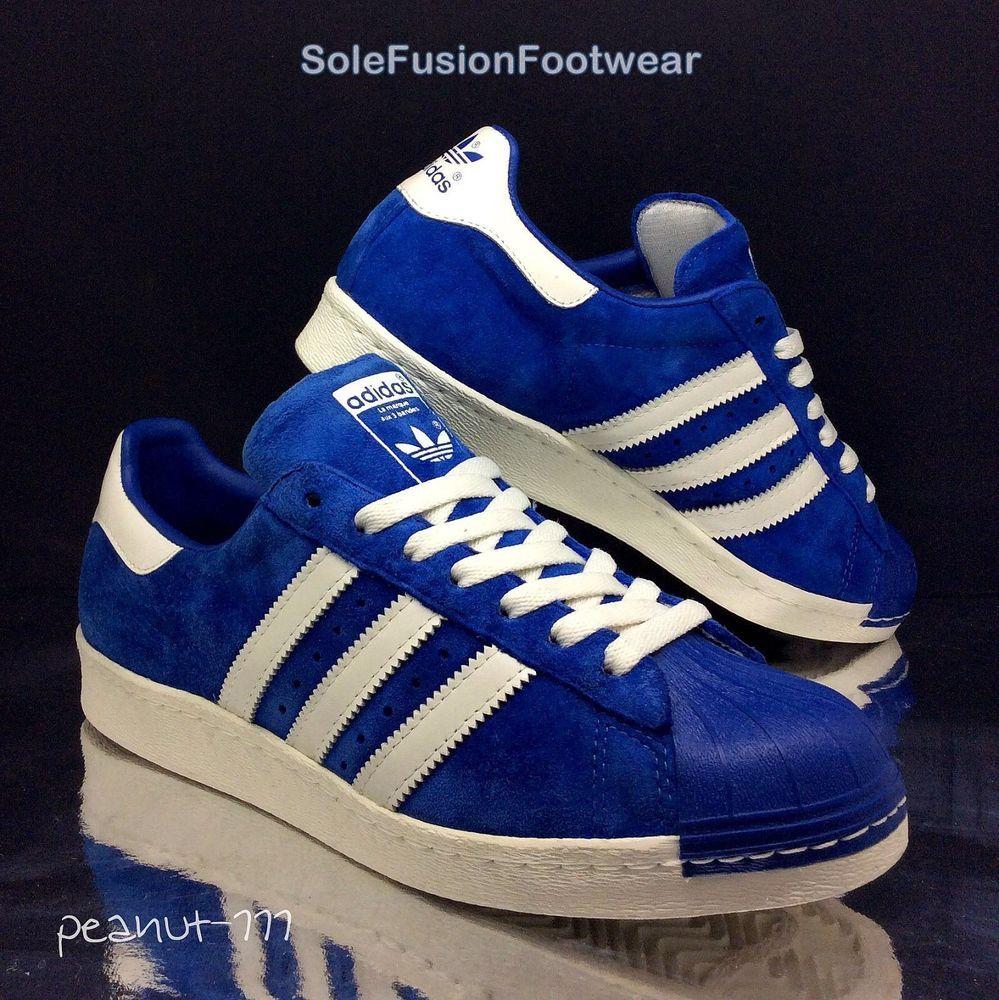adidas Mens Superstar 80s Trainers Blue size 8 Rare Retro