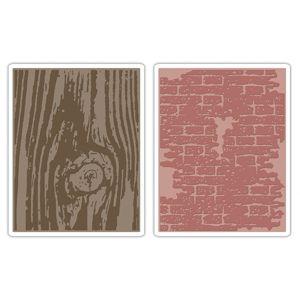 Sizzix Texture Fades Embossing Folders 2PK - Bricked & Woodgrain Set $10.99
