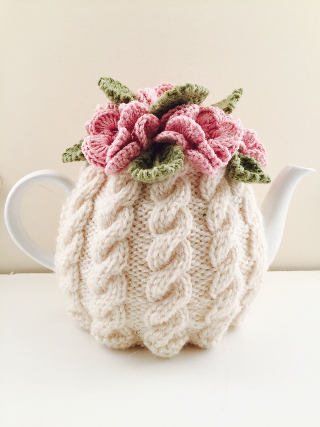 Floral Cabled Tea Cosy - Cream & Pink - Size Medium - fits 6-cup teapots