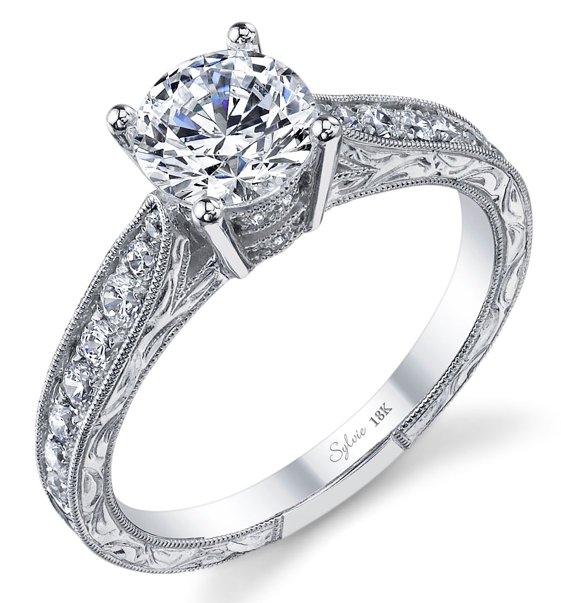 Amitie Collection Rings Sylvie Collection Engraved Engagement Ring Round Diamond Engagement Rings Antique Wedding Rings