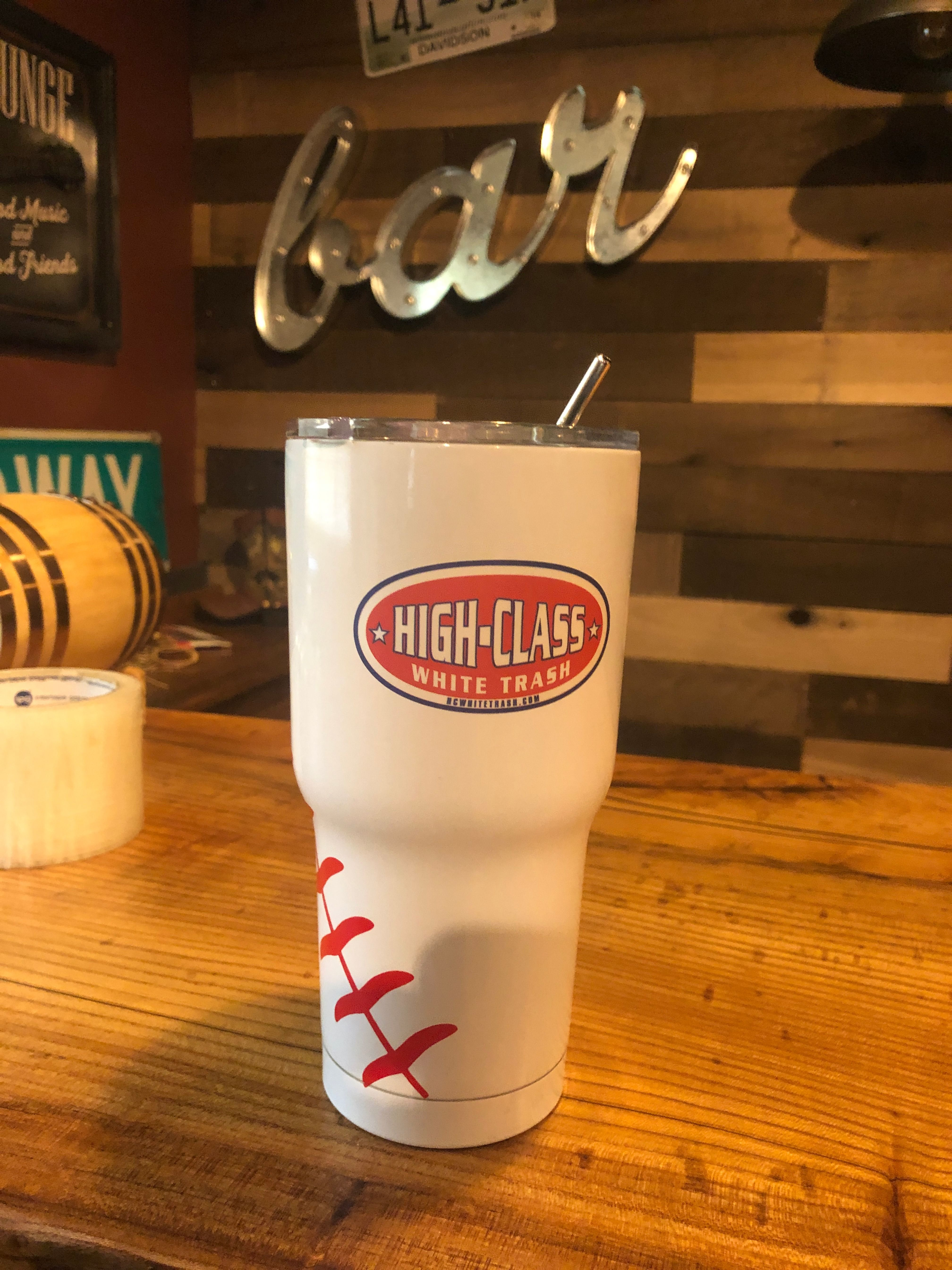 High Class White Trash Sticker Decal on Baseball Tumbler. Just another fun way to use your High Class White Trash sticker decals. This sticker decal is applied to a baseball tumbler. #highclasswhitetrash #redneck #rednecks #rebels #camping #fishing #decal #decals