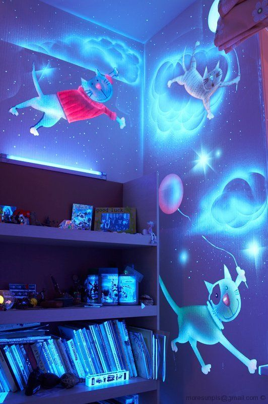 Glow In The Dark Spray Paint Ideas Part - 49: Glow In The Dark Paint Used To Fantastic Effect In This Kids Bedroom!